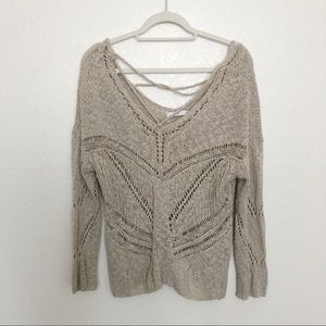 Lush eyelet cut-out sweater tan